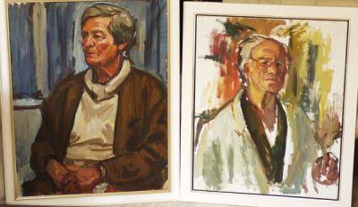 Franz Robert Schmidt: Selbstbildnis (ca.1996) und Bildnis der Ehefrau, ebenfalls Malerin